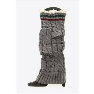 NWT Lace Trim Leg Warmers | Gray